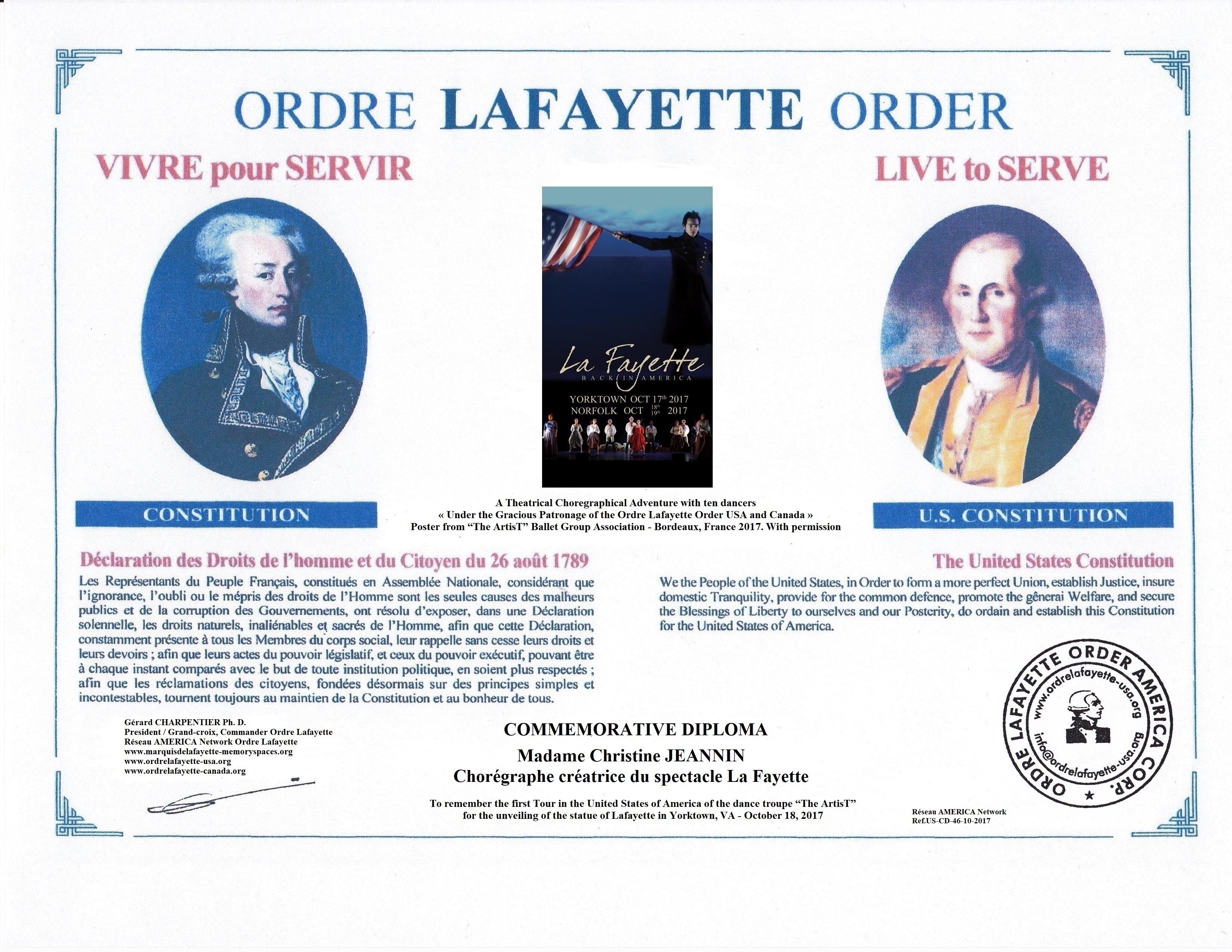 OL.USA- A15CJ-  Commemo. Diploma La Fayette Ballet 10-2017