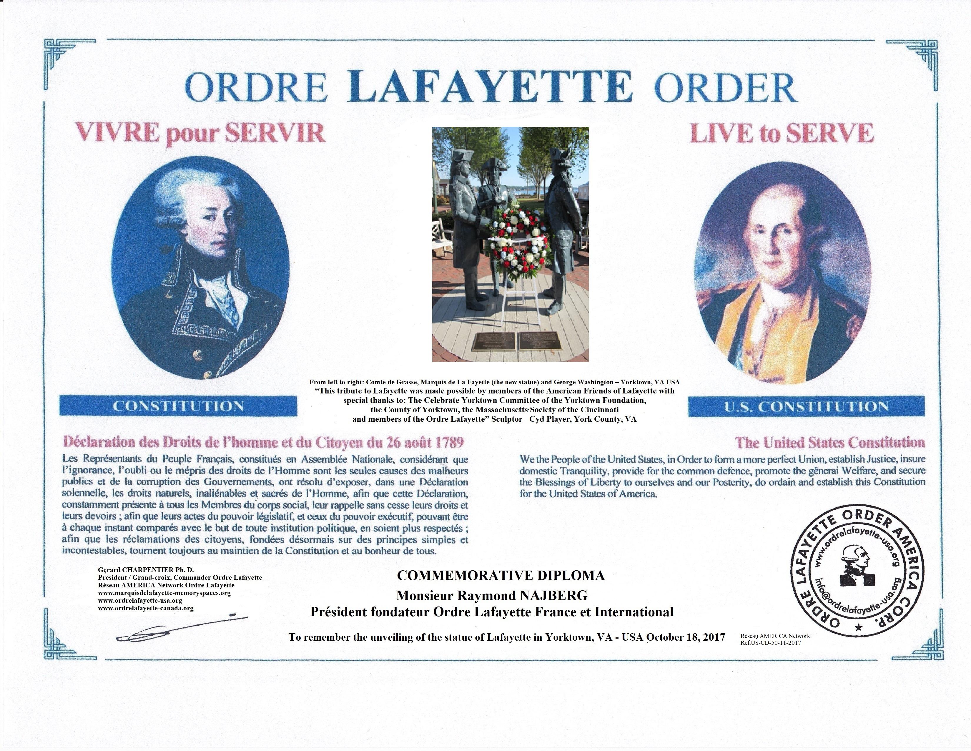 OL.USA- RN- Commemo. Diploma  Lafayette Statue Yorktown, VA November 18, 2017