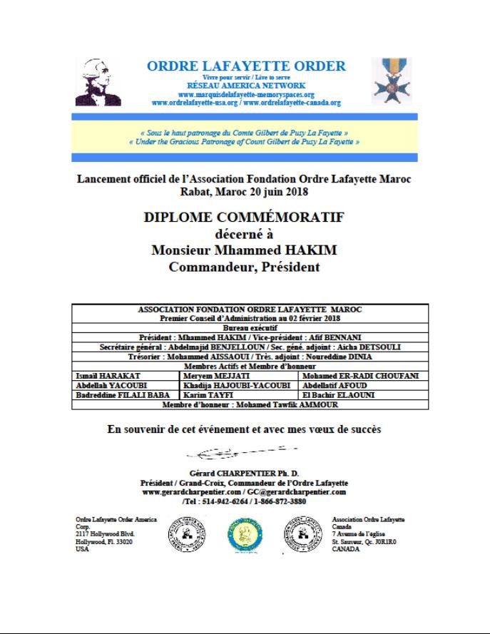 5.4 Diplome commemoratif lancement OL Maroc